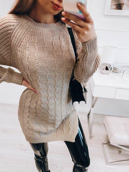 Sweterkowa tunika z rozporkami WAVE - beżowy