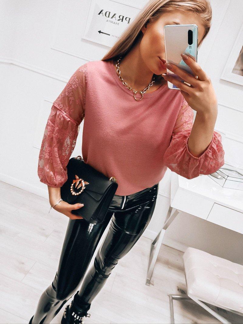 Sweterkowa bluzka z koronkowymi...