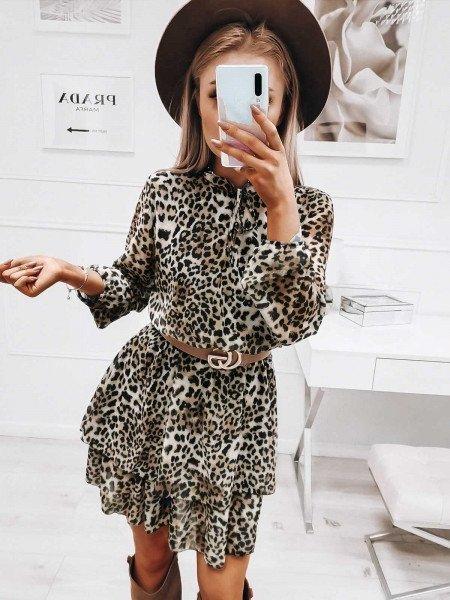 Sukienka z wiązanym dekoltem - MILLA - panterka