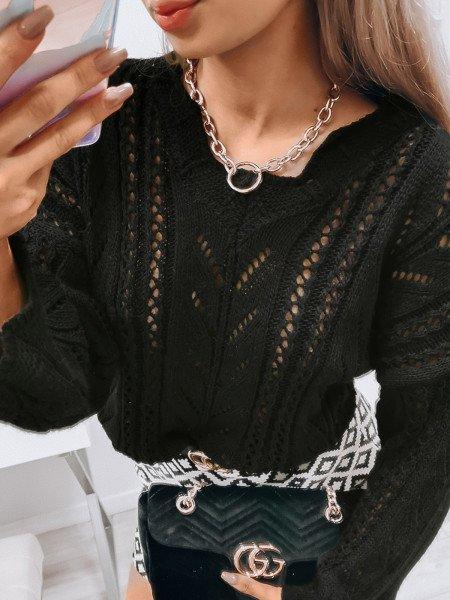 Krótki sweterek oversize - FOLK - czarny