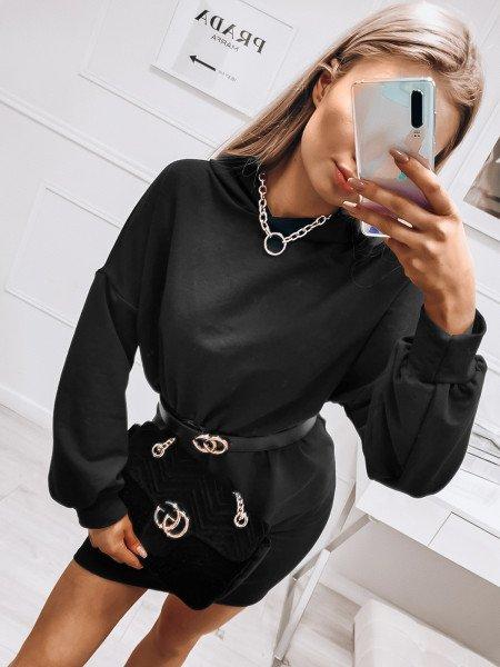 Dresowa sukienka oversize z kapturem - YALE - czarny