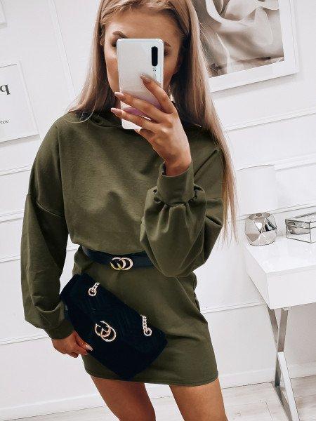 Dresowa sukienka oversize z kapturem - YALE - khaki