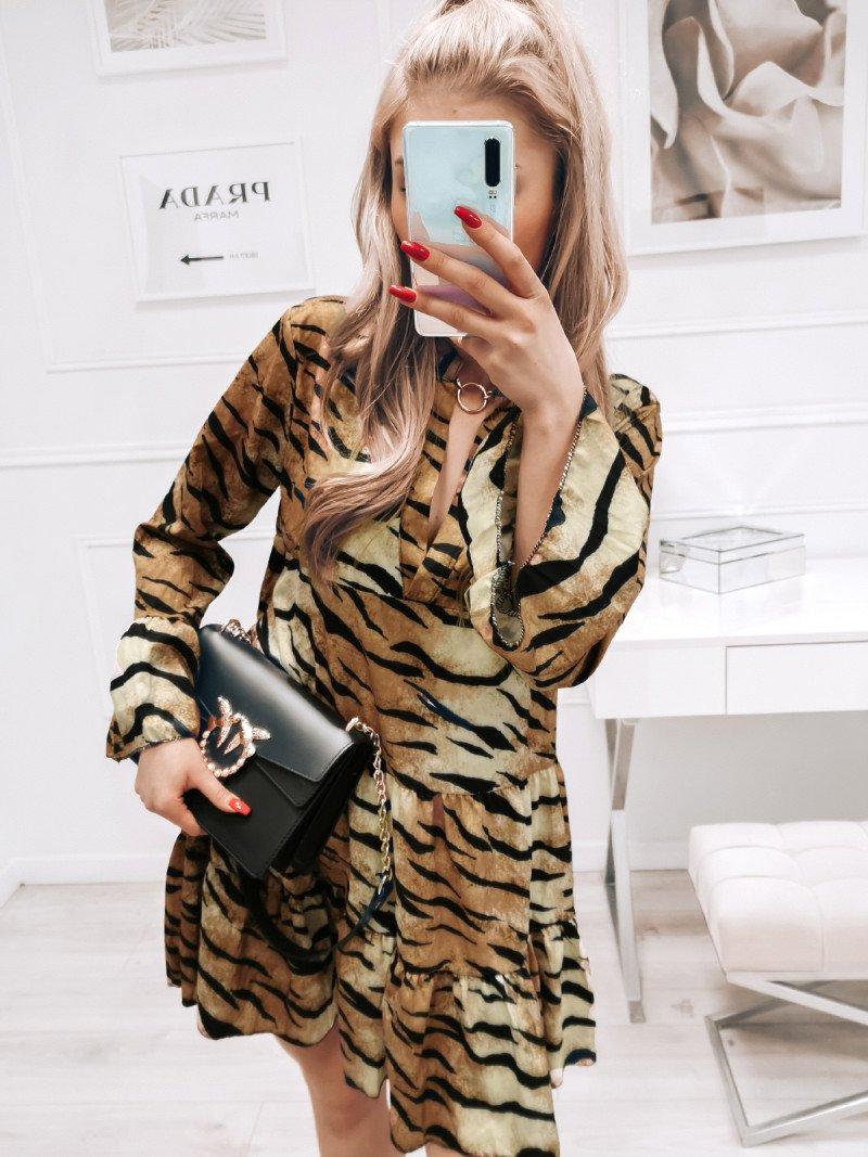 Trapezowa sukienka w zwierzęcy print...