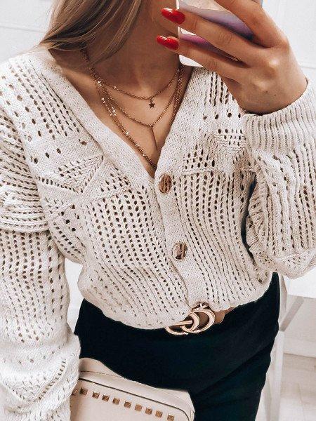 Zapinany na guziki ażurowy sweterek KIRRA - beżowy