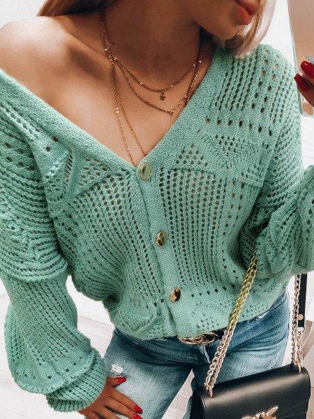 Zapinany na guziki ażurowy sweterek KIRRA - miętowy