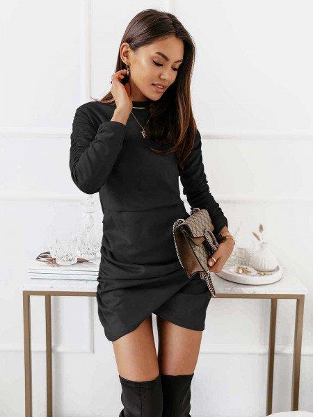 Zamszowa asymetryczna sukienka ANIKA - czarna