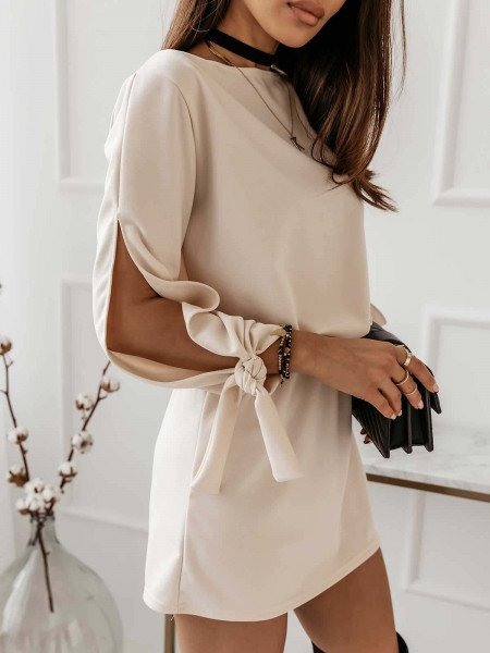 Sukienka mini z wiązaniem EVITA - beżowa