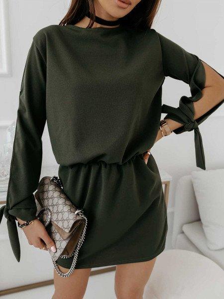 Sukienka mini z wiązaniem EVITA - khaki