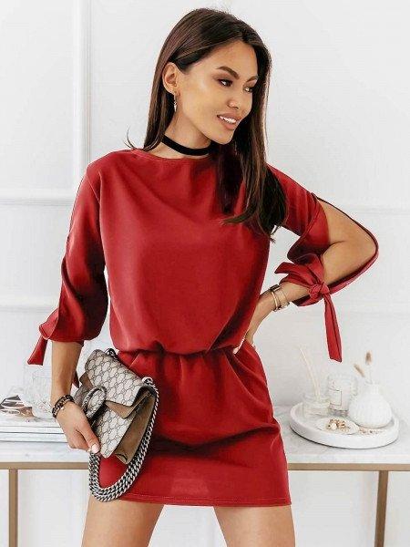 Sukienka mini z wiązaniem EVITA - czerwona
