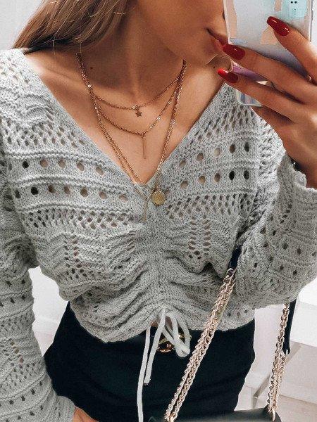 Ażurowy sweterek z marszczeniem FESTI - szary