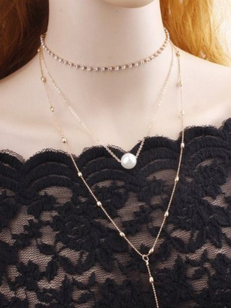 Naszyjnik z chokerem i perłą