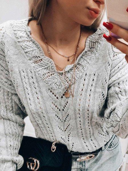Ażurowy sweterek oversize - VERA - szary