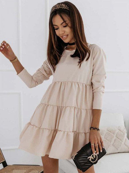 Trapezowa sukienka z falbankami LEXIE - jasny beż