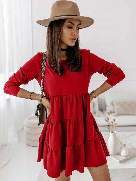 Trapezowa sukienka z falbankami LEXIE - czerwony