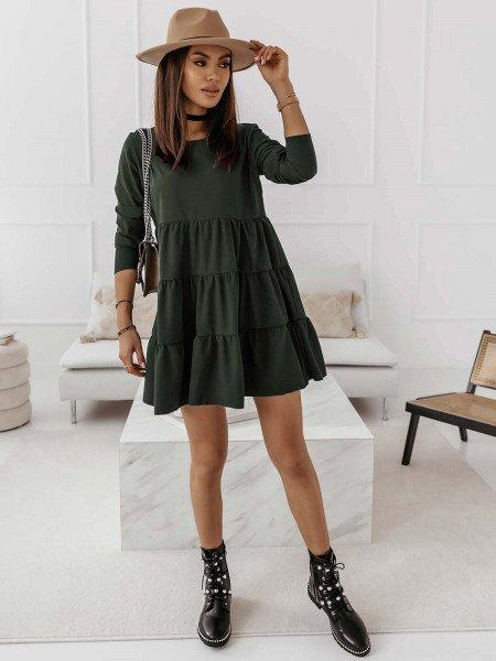 Trapezowa sukienka z falbankami LEXIE - khaki