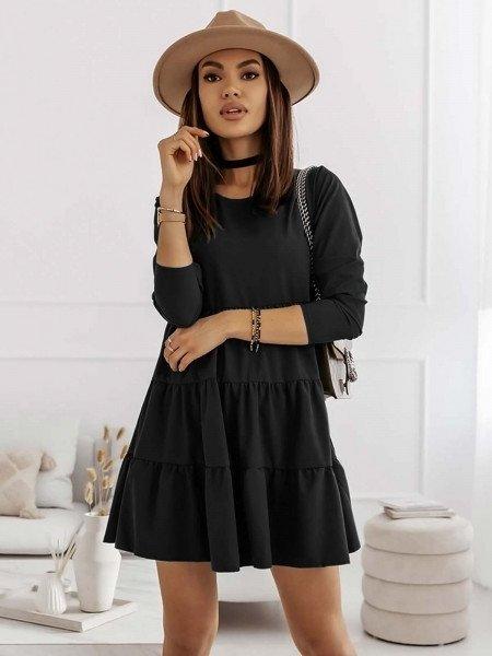 Trapezowa sukienka z falbankami LEXIE - czarny
