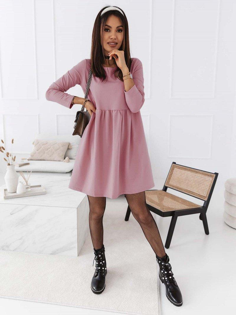 Trapezowa sukienka MANOLA - brudny róż
