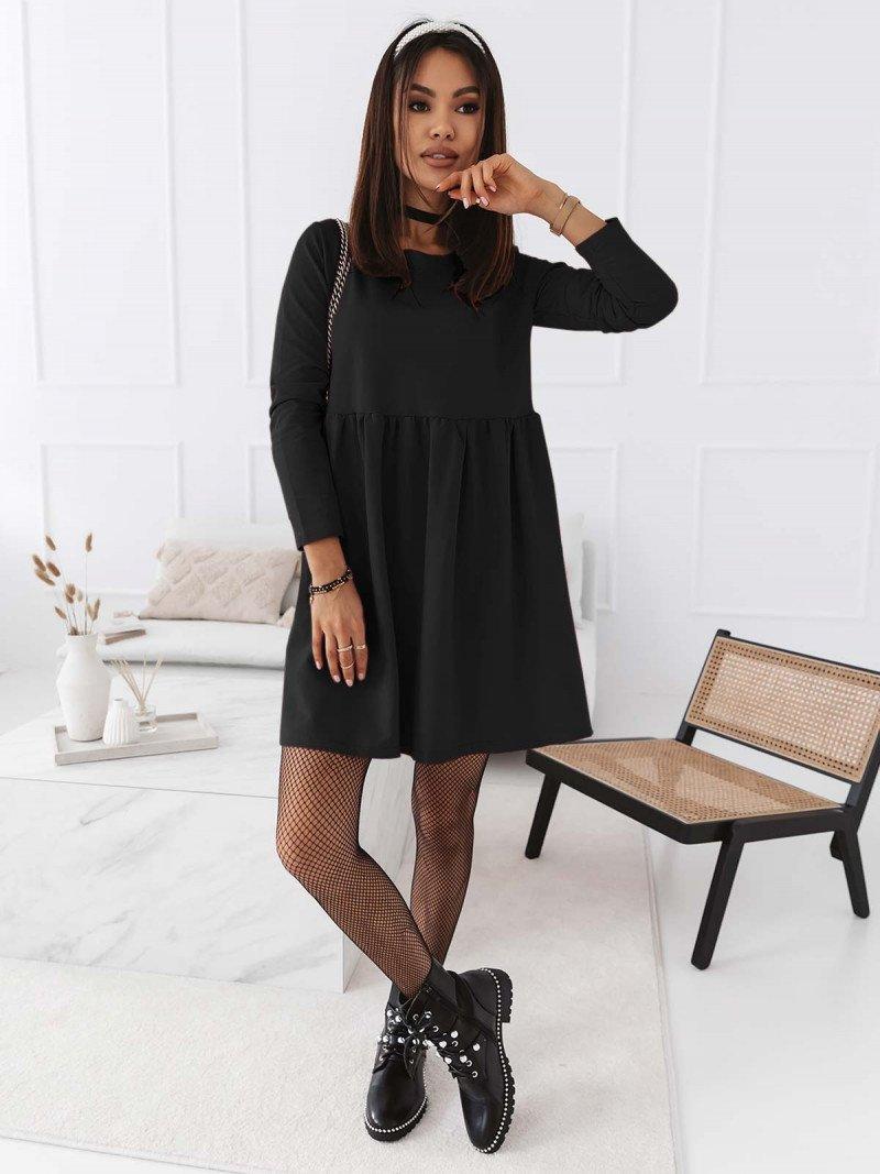 Trapezowa sukienka MANOLA - czarna