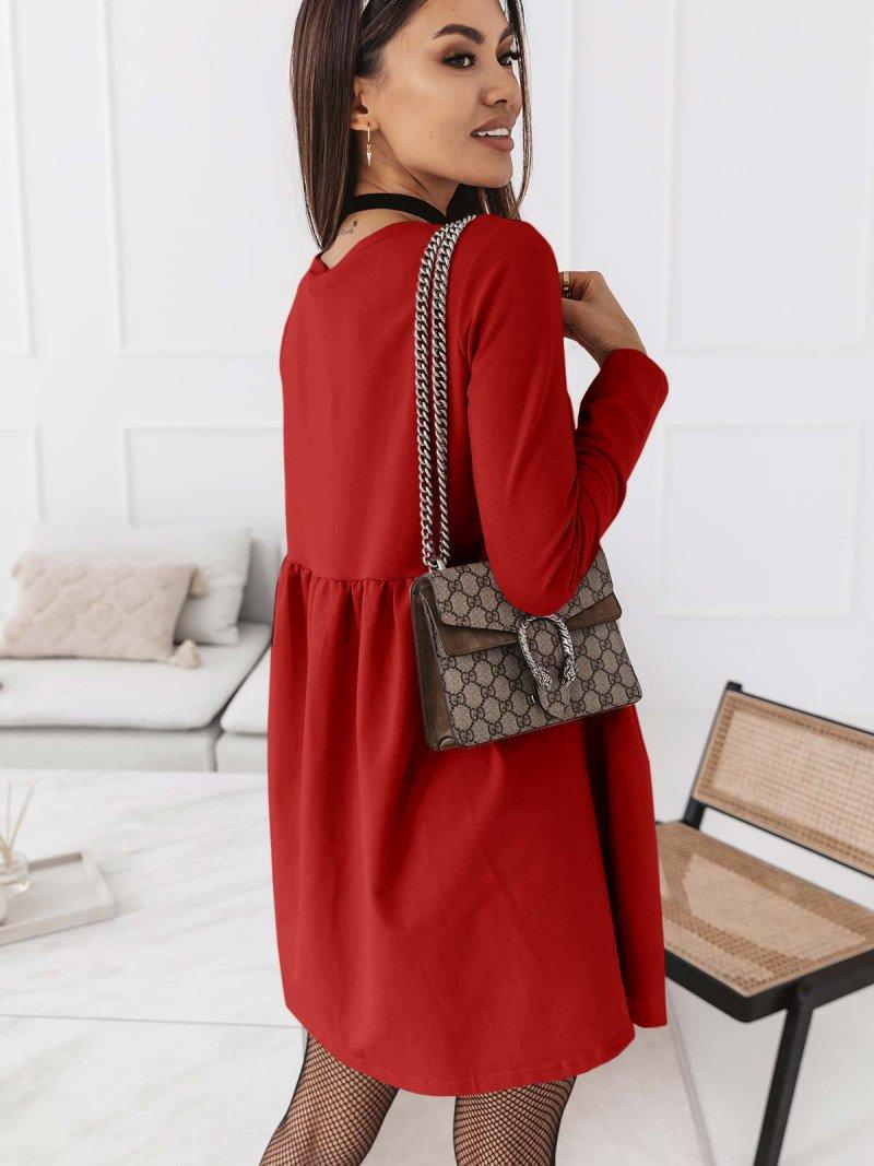 Trapezowa sukienka MANOLA - czerwona