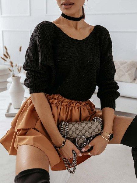 Ażurowy sweter na jedno ramię MISTIC - czarny