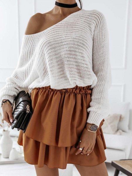 Ażurowy sweter na jedno ramię MISTIC - biały