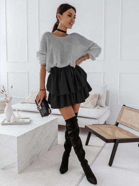 Ażurowy sweter na jedno ramię MISTIC - popielaty