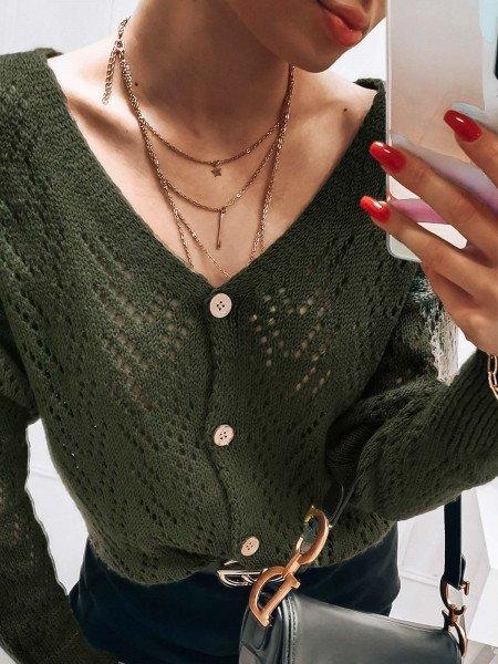 Ażurowy kardigan sweterek na guziki BELEM - khaki