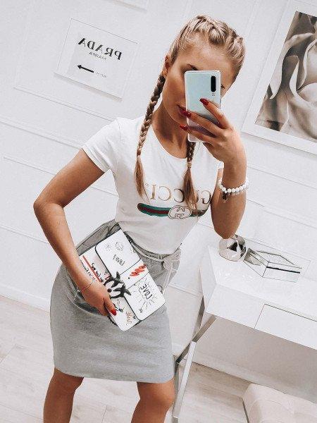 Dresowa mini spódnica TRACY - szary melanż