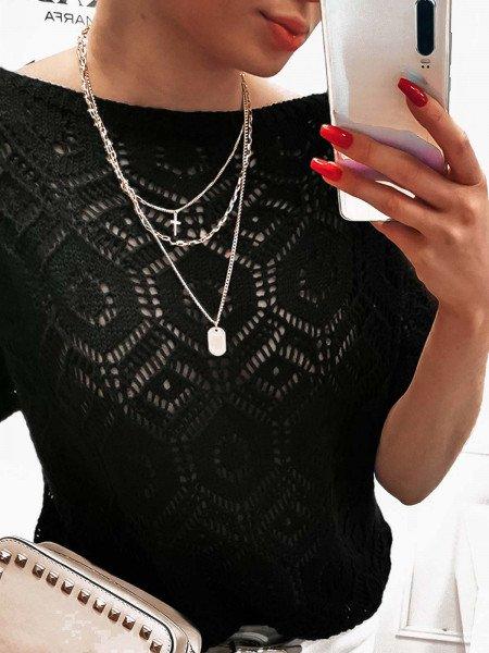 Ażurowy sweter nietoperz CELESTE - czarny