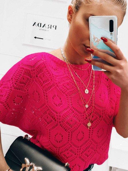 Ażurowy sweter nietoperz CELESTE - neonowy róż