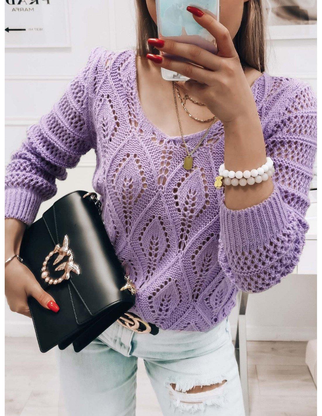 Ażurowy sweterek YASMINNE - lila