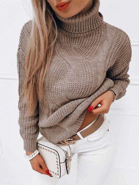 Pleciony sweter golf SONIA - latte