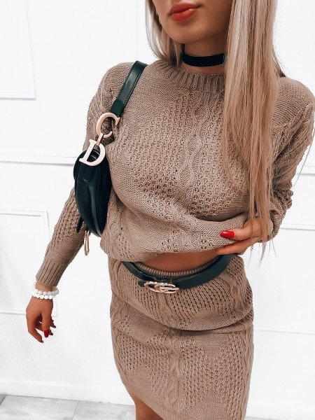 Dzianinowy komplet sweter + spódnica - LORI - beżowy