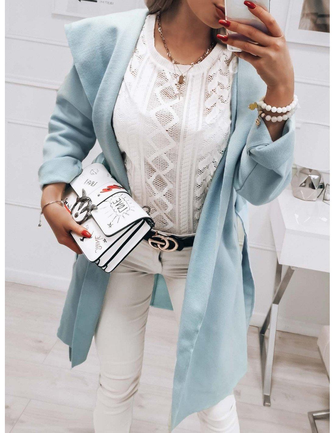 Flauszowy płaszcz STEPHANIE - błękitny