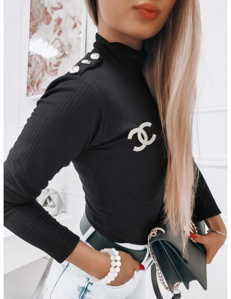 Prążkowany sweter z golfem CINTIA - czarny