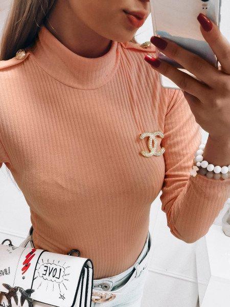 Prążkowany sweter z golfem CINTIA - pudrowy róż
