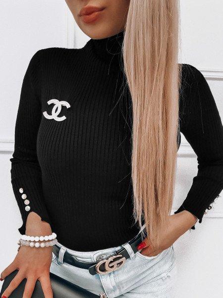 Prążkowany sweter z golfem JORGINA - czarny