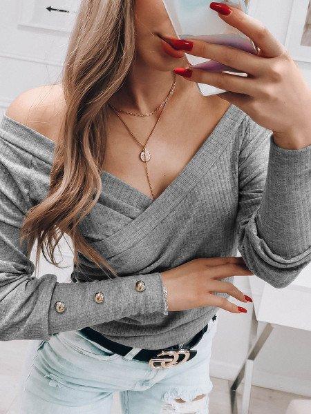 Prążkowana kopertowa bluzka CHICKY - szara