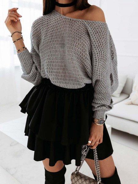 Pleciony sweter z rozcięciami ASHLEY - szary