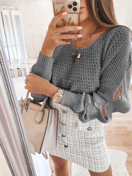 Pleciony sweter z rozcięciami ASHLEY - popielaty