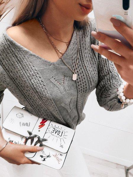 Ażurowy sweterek Adalina - szary