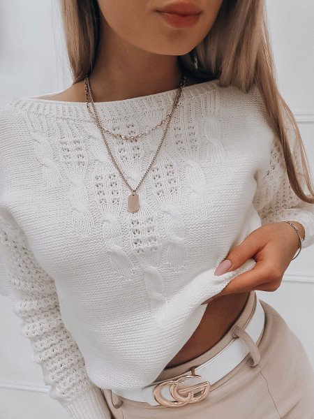 Pleciony sweter z dekoltem w łódkę RONDA - biały