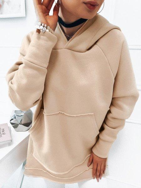 Oversizowa bluza z kapturem ABIGAIL - beżowy
