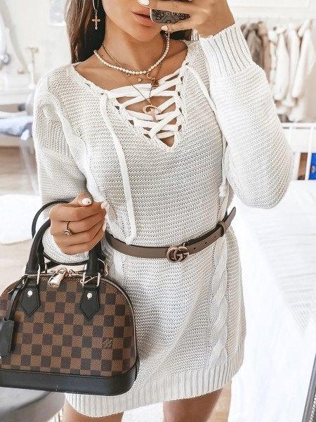 Sweter tunika z wiązanym dekoltem MOYRA - biały