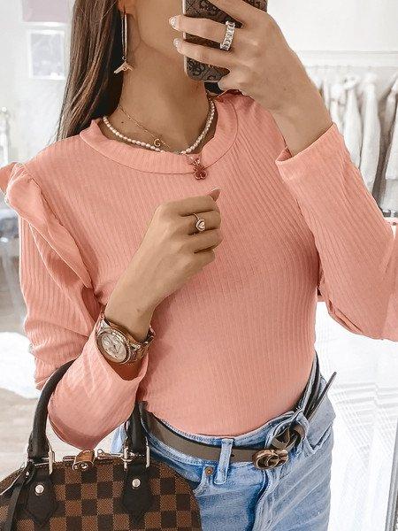 Prążkowana bluzka z falbanką GIRLY - brzoskwiniowa