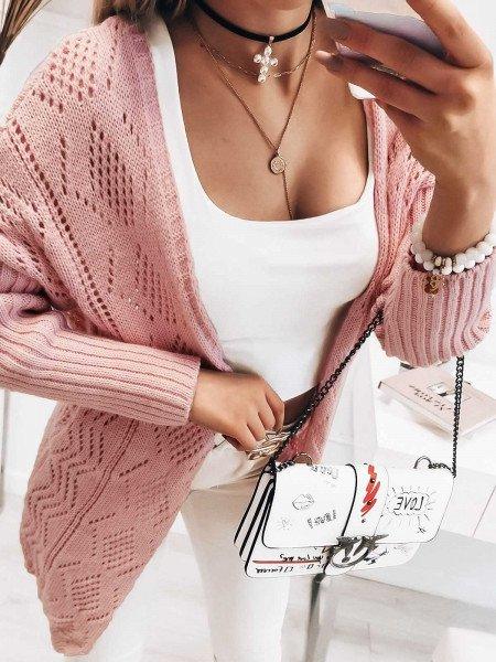 Sweterkowy ażurowy kardigan...