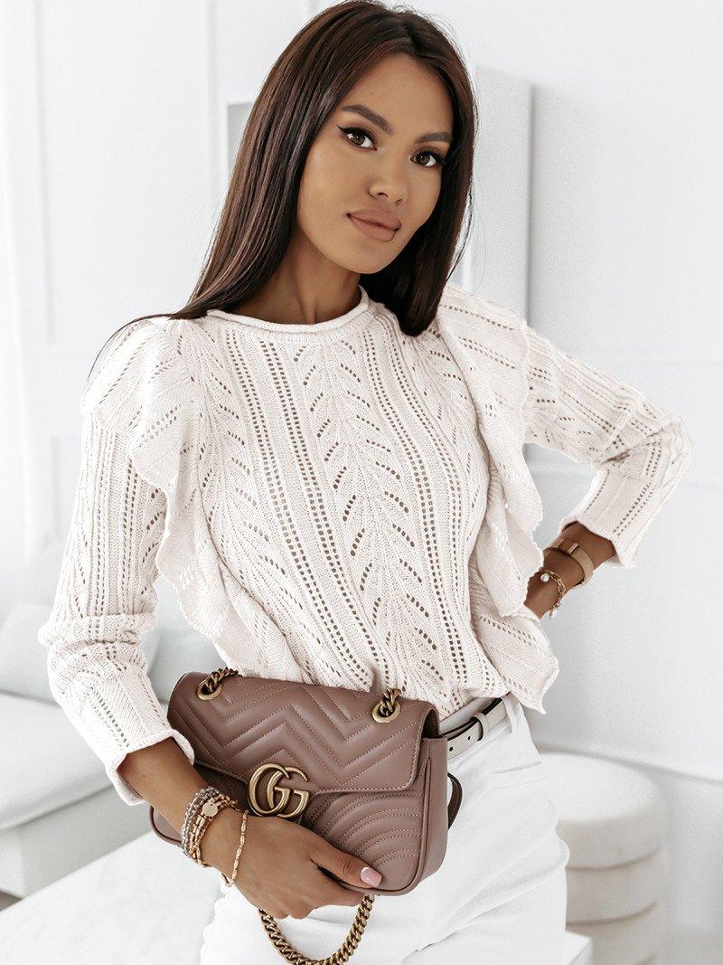 Ażurowy sweter z falbanami PENELOPE-...