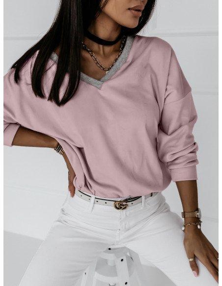 Welurowa bluza z dekoltem EVERY DAY - brudny róż