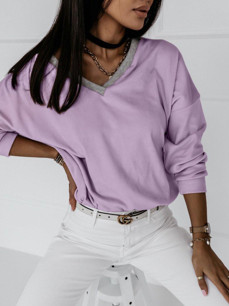 Welurowa bluza z dekoltem EVERY DAY -...