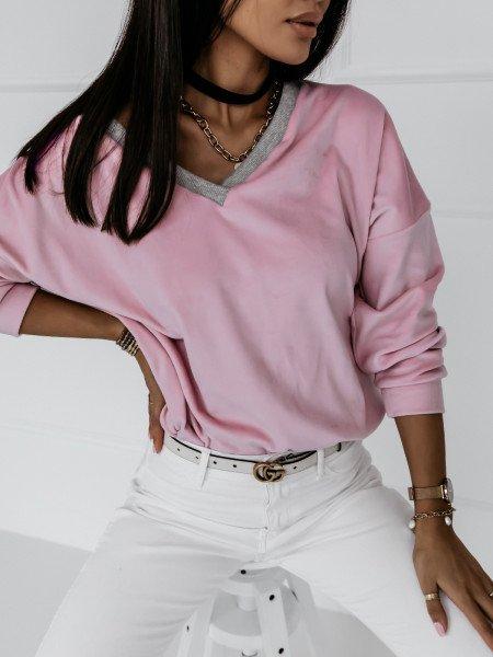 Welurowa bluza z dekoltem EVERY DAY - pudrowy róż